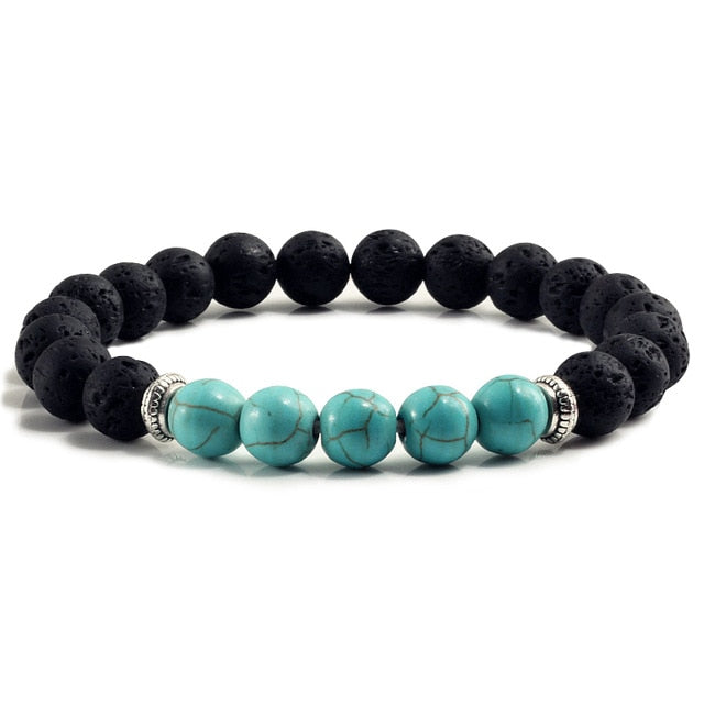 Black Lava Turquoises Strand Bangle Fashion Buddha Jewelry