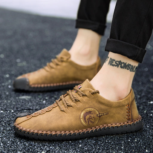 Yellow Black Bottom Breathable Lace-up Male Shoes