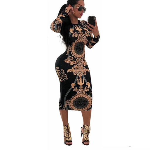 Casual O-neck Print Long Sleeve Bodycon Party Dress