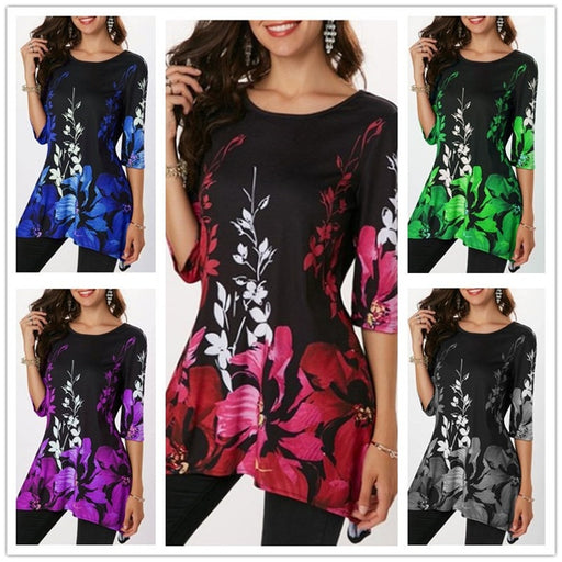 O-Neck Floral Print Casual T Shirts Tops