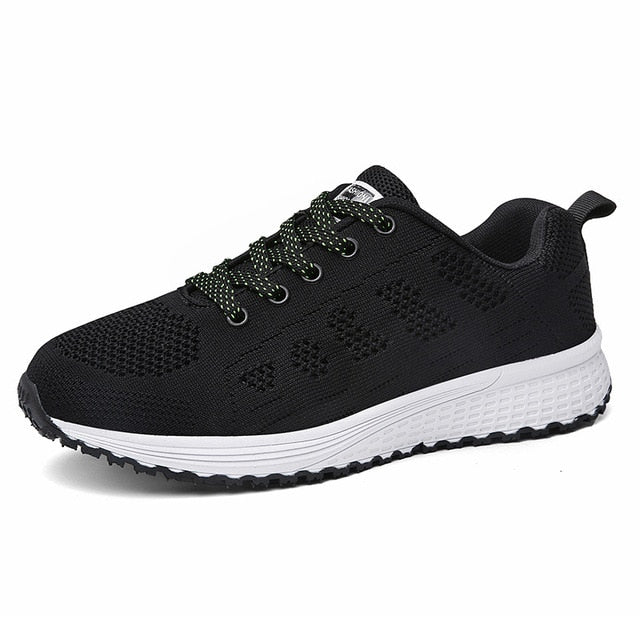 Breathable Walking Mesh Lace Up Flat Shoes