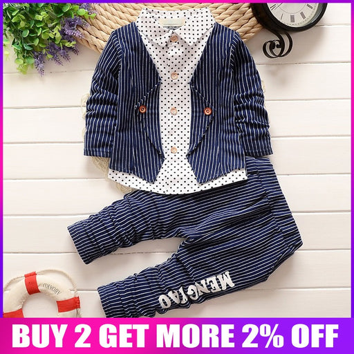 Stripe Tops+Pants Kids Boys Clothes Sets