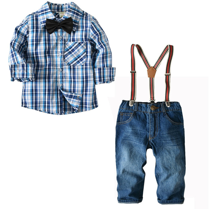 Casual Plaid Shirt +Suspender Jeans Kids Gentleman Bow Tie Boy Clothes