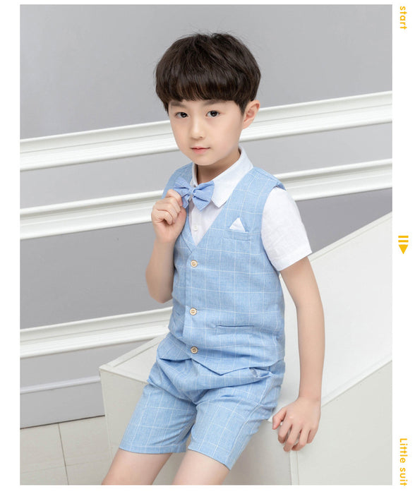 Baby Boy Formal Set 4 Pcs Vest Shirt, Pants and Clothees