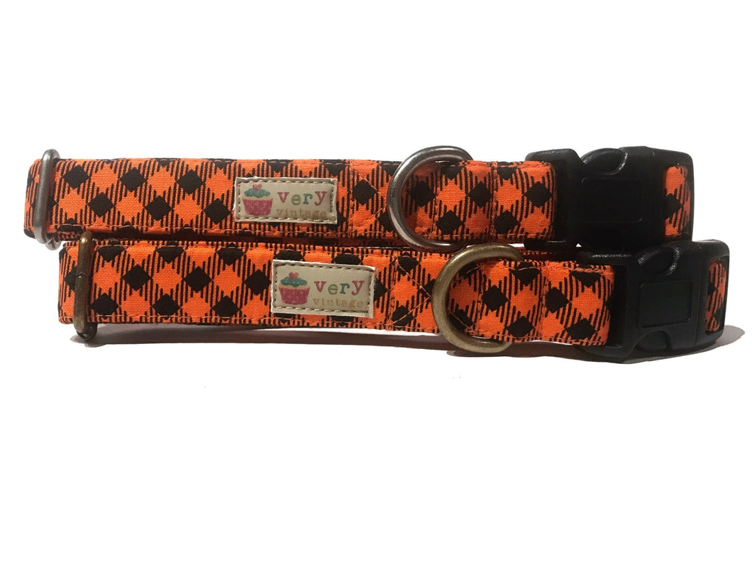 Halloween Gingham – Organic Cotton Dog Collar