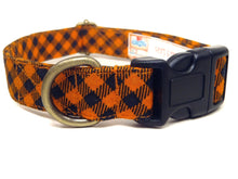 Load image into Gallery viewer, Halloween Gingham – Organic Cotton Dog Collar