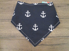 Load image into Gallery viewer, Nautical Navy Blue w/Anchor – Snap On Bandana