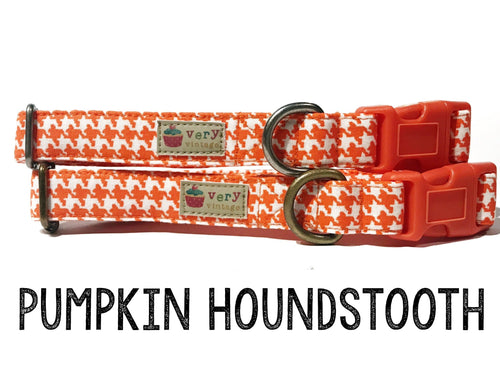 Pumpkin Houndstooth – Organic Cotton Dog Collar