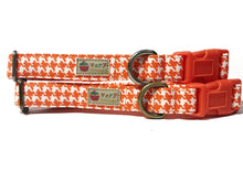 Load image into Gallery viewer, Pumpkin Houndstooth – Organic Cotton Dog Collar