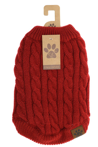Solid Cable Knit Dog Sweater - BURGUNDY