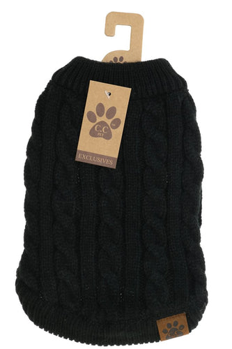 Solid Cable Knit Dog Sweater - BLACK