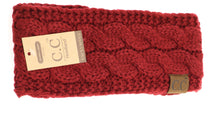 Load image into Gallery viewer, CC Head Wrap Solid Cable Knit W/Sherpa Lining HW20