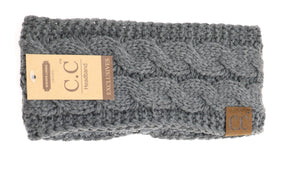 CC Head Wrap Solid Cable Knit W/Sherpa Lining HW20