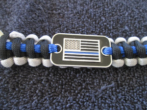 Key Chain Holder Paracord Nylon Survival Rope Black & Blue Line American Flag