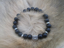 Load image into Gallery viewer, Lava Stone Jewelry Bracelet Silver Owl Smooth Matte Black Beaded