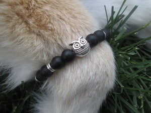 Lava Stone Jewelry Bracelet Silver Owl Smooth Matte Black Beaded