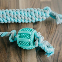 Load image into Gallery viewer, Dog Rope Toy Flossy Tossy Natural Cotton & Rubber Tug Chew Drum