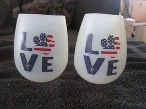 Stemless Silicone Wine Glass Shatterproof Beverage Cup Love Paw Print Patriotic