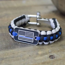 Load image into Gallery viewer, Thin Blue Line Bracelet Black Gray Paracord Survival Rope American Flag