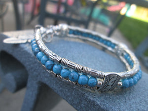 Turquoise Jewelry Bracelet Silver Beaded Bangle