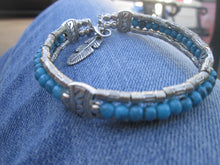 Load image into Gallery viewer, Turquoise Jewelry Bracelet Silver Beaded Bangle