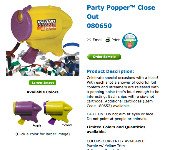 PARTY POPPER. PALLET LOT OF 4320.