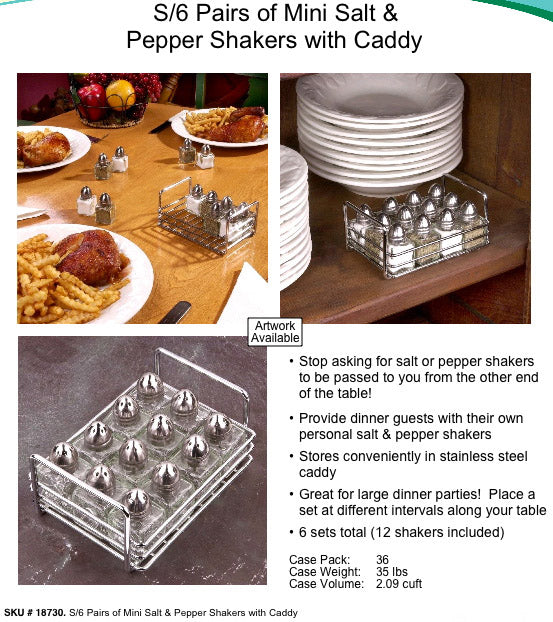 SALT AND PEPPER SHAKERS WITH CADDY.MINI SET OF 6. LIQUIDATION LOT OF 540.