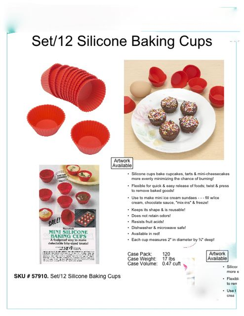 SILICONE BAKING CUPS-RED (SET/12). LIQUIDATION LOT OF 3600 SETS.