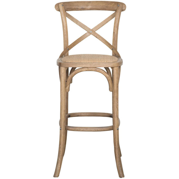 Provincial Cross Back Bar Stool - Natural Oak