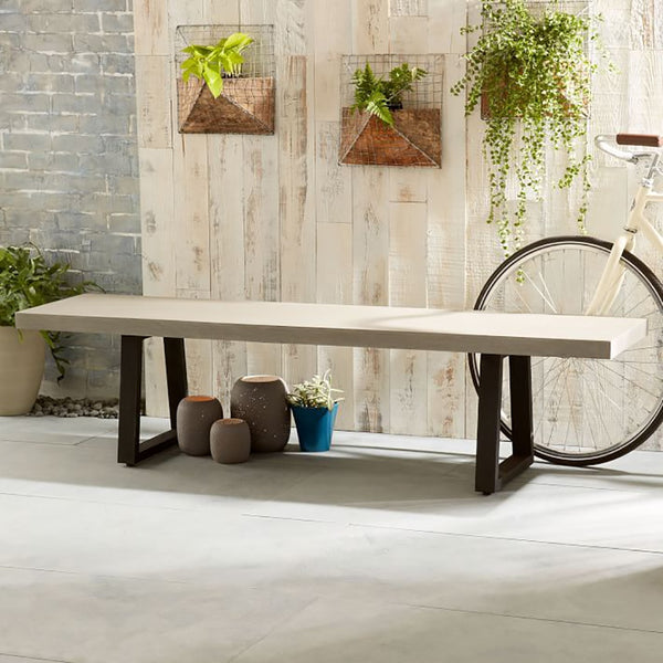 WERPA ELKSTONE BENCH SEAT - 1.45M - BEIGE WITH BLACK METAL LEGS