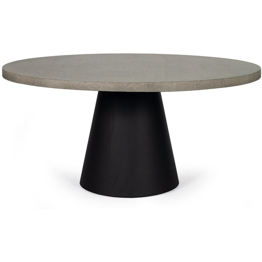 1.6m Avalon Round Dining Table - Speckled Grey with Black Powder Coated Iron Cone Base - www.elkstone.com.au