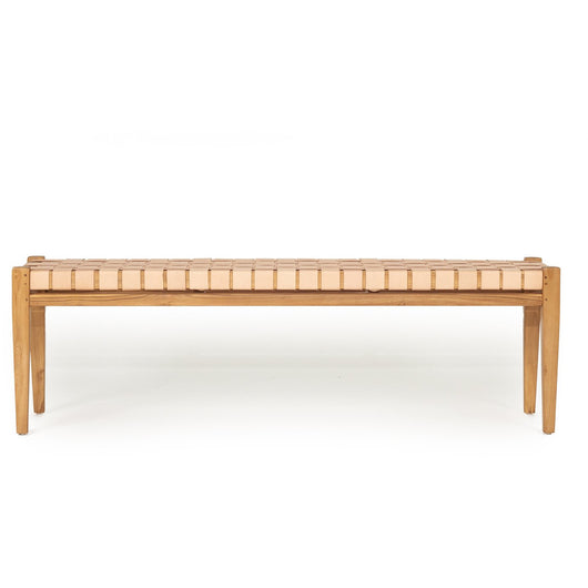 SIERRA LEATHER STRAP BENCH - NUDE