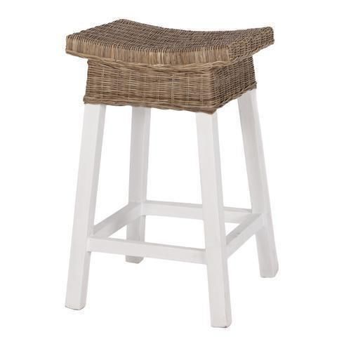 WHITE WOOD & RATTAN BARSTOOL