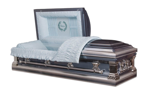 Father - Metal Casket in Monarch Blue and Shaded Silver with Blue Crepe Interior - Trusted Caskets