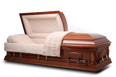 Cleveland - Walnut veneer Wood Casket in Gloss finish with Beige Velvet Interior - Trusted Caskets