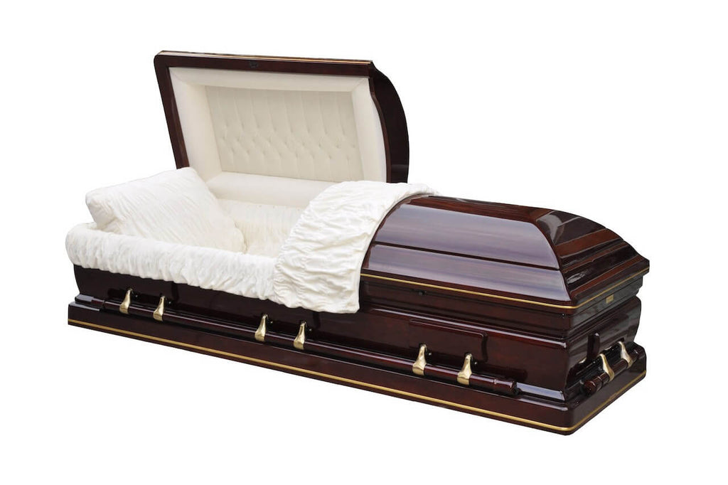 Congressman - Hardwood Cherry Casket in Gloss Finish with Ivory Velvet Interior - Trusted Caskets