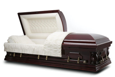 Exclusive - Cherry veneer Wood Casket in Gloss Finish with Ivory Velvet Interior - Trusted Caskets