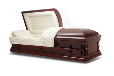 Exclusive Lite - Cherry veneer Wood Casket in Gloss Finish with Ivory Velvet Interior - Trusted Caskets