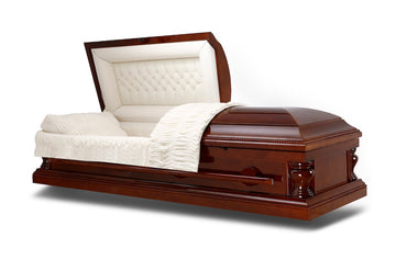 Harmony Lite -  Wood veneer Casket, in Gloss Finish with Ivory Velvet Interior - Trusted Caskets