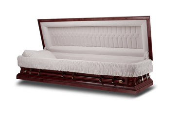 Harmony Full Couch - veneer Cherry Wood Casket in Gloss Finish with Ivory Velvet Interior - Trusted Caskets