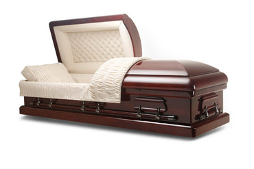 Heidelberg - Solid Mahogany Wood Casket in Gloss Finish with Beige Velvet Interior - Trusted Caskets