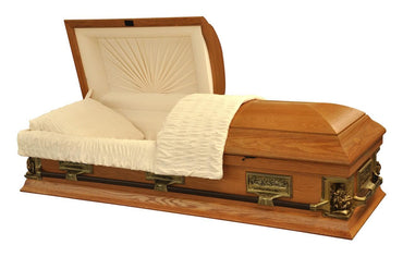 Michelangelo Oak - veneer Oak Wood Casket with Ivory Velvet Interior - Trusted Caskets