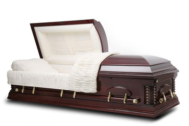 Middleton - veneer Cherry Wood Casket in Gloss Finish with Ivory Velvet Interior - Trusted Caskets