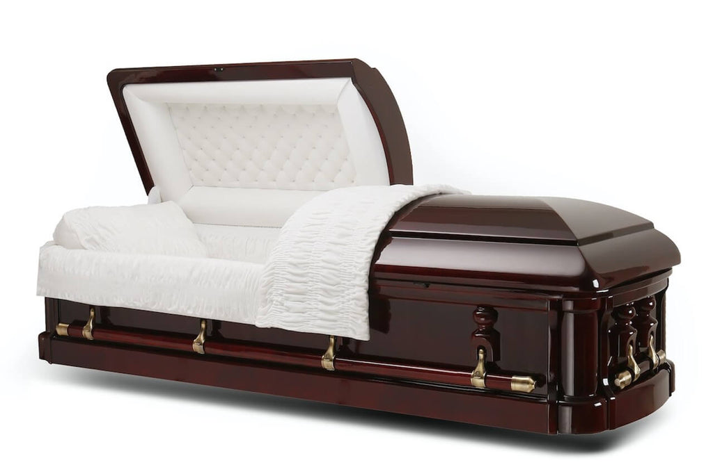 Monarch - Solid Mahogany Wood Casket in Gloss Finish with Ivory Velvet Interior - Trusted Caskets