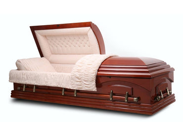 Nashville - Teak veneer Wood Casket in medium Gloss finish with Beige Velvet Interior - Trusted Caskets