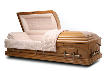 Nashville Maple - Maple veneer Wood Casket in Medium Gloss Finish with Beige Velvet Interior - Trusted Caskets