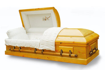 Old Cedar - Solid Pine Wood Casket in Gloss Finish and White Velvet Interior - Trusted Caskets