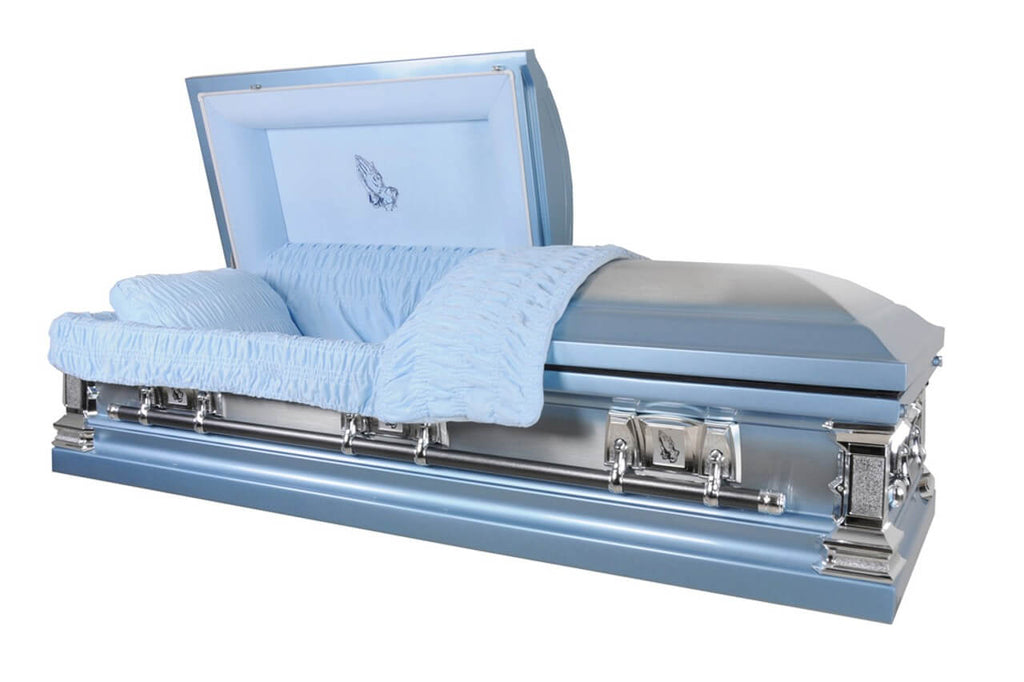 Pray - Stainless Steel Casket in Natural Brushed Light Blue Finish with Light Blue Velvet Interior - Trusted Caskets