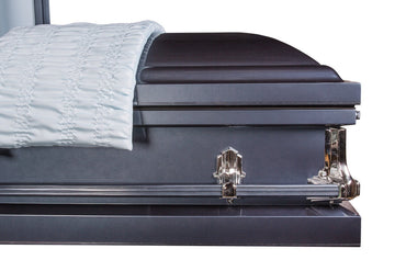 Princeton Blue - Glossy Silver-Blue Finish with White Crepe Interior- Metal Casket - Trusted Caskets