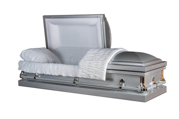 Princeton Silver - Glossy Silver Finish with White Crepe Interior- Metal Casket - Trusted Caskets